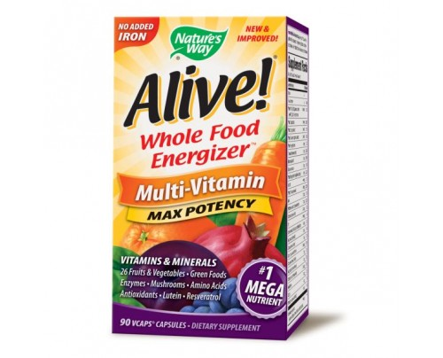 Nature's Way Alive! Max Potency Multivitamin, No Iron Added 90 Vegetarian Capsules
