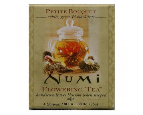 Numi Organic Tea Flowering Tea Petite Bouquet Assorted Sampler 4 Tea Bags