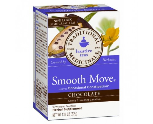 Traditional Medicinals Smooth Move Chocolate Tea 90% Organic 16 Teabags