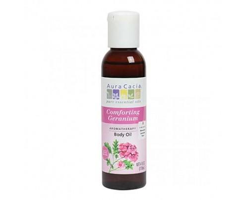 Aura Cacia Bath & Massage Oil Comforting Geranium formerly Heart Song 4 fl. oz.