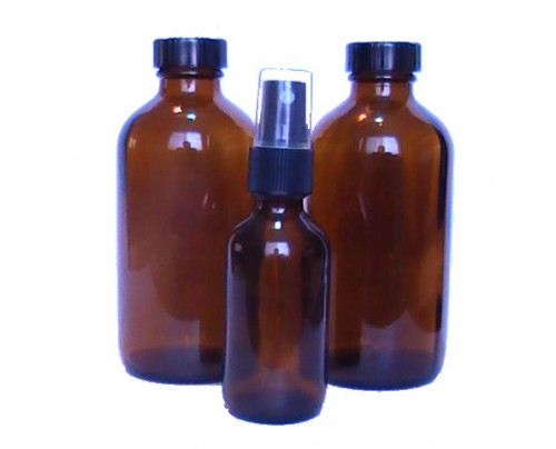 Nature's Alternatives Storage Bottles 2 Glass Amber (8oz.) w/ 2 Caps & 1 Bottle w/ Spray Nozzle (2oz.)