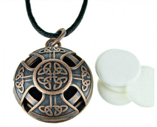Earth Solutions Celtic Cross Scent Chamber Aromatherapy Jewelry Pewter Pendant