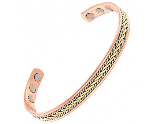Energy Innovations Positive Energy Copper 3-Magnet Bracelet with Braided Gold & Silver Inlay