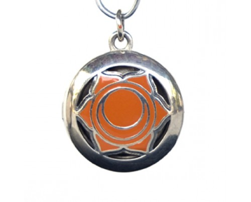 Earth Solutions Aromatherapy Sacral Chakra Pendant Chakra 2, Sterling Silver, Orange