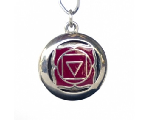 Earth Solutions Aromatherapy Muladhara Root Chakra Red Inlay Sterling Silver Pendant