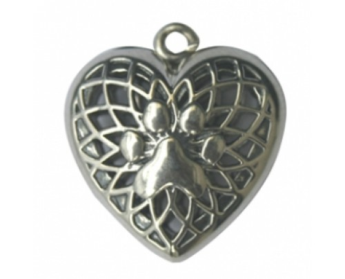 Earth Solutions Aromatherapy Jewelry Heart & Puppy Paw Pendant, Sterling Silver