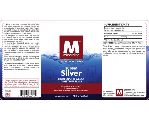 Mineralife Silver Angstrom Ionic Mineral Water 20 ppm 16 fl. oz.
