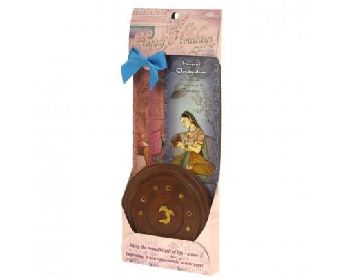 Prabhuji's Gifts Incense Gift Set - Wood Round Burner + 3 Harmony Incense Packs (Bhairavi, Gaudi, Gaudmalhar) 30 Sticks