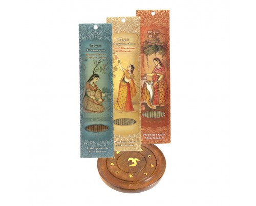 Prabhuji's Gifts Incense Gift Set - Wood Round Burner + 3 Harmony Incense Packs (Madhumadhavi, Sehuti, Padmanjari) 30 Sticks