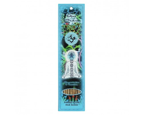 Prabhuji's Gifts Stick Incense Ajna Third Eye Chakra Concentration & Intuition Jasmine & Tulasi 10 Sticks