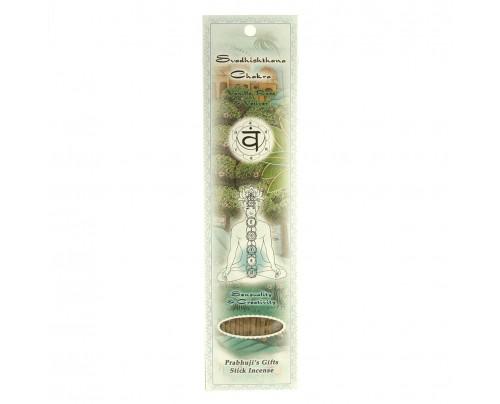 Prabhuji's Gifts Stick Incense Svadhishthana Sacral Chakra Sensuality & Creativity Vanilla, Rose & Vetiver 10 Sticks