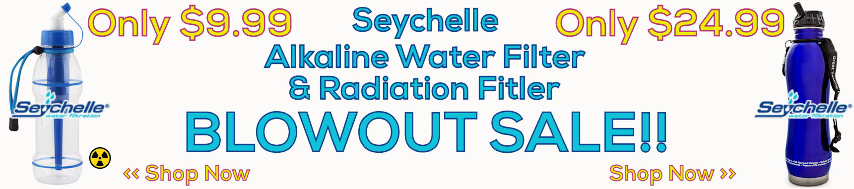 Seychelle Blue Stainless Alkaline Water Filter Bottle and Blue Radiation Sports Bottle Sale